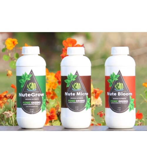 """Hydroponic Nutrient """"Nute Set"""" 3 Part Grow, Micro, Bloom ( Qty 1 Ltr)"""